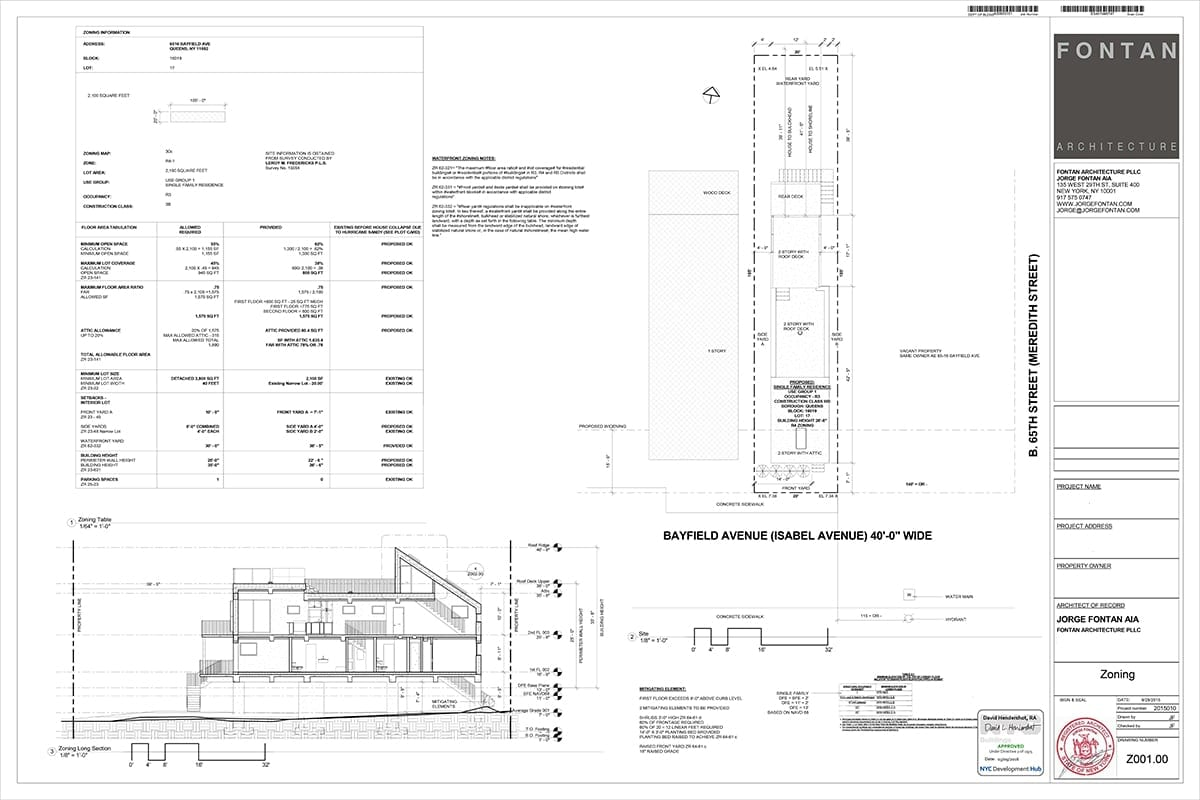 Zoning Drawings Showing BFE & DFE
